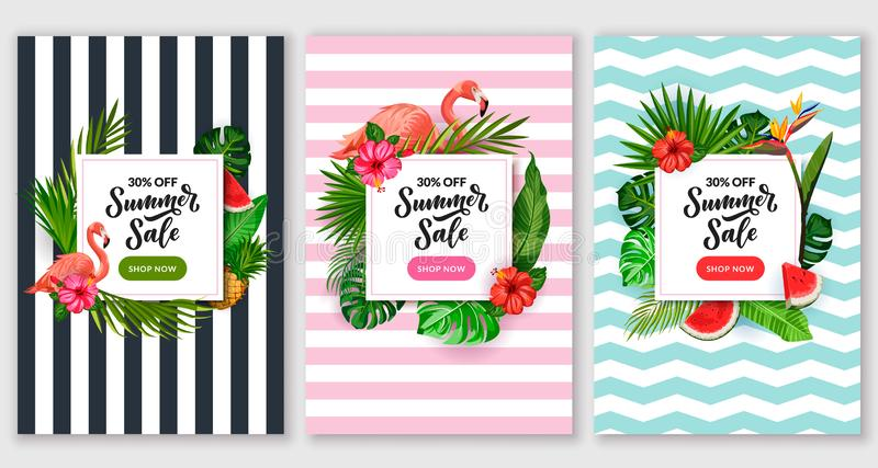Набор плаката продажи лета Тропический шаблон дизайна рамки знамени Иллюстрация вектора листьев, фламинго и цветков ладони иллюстрация вектора