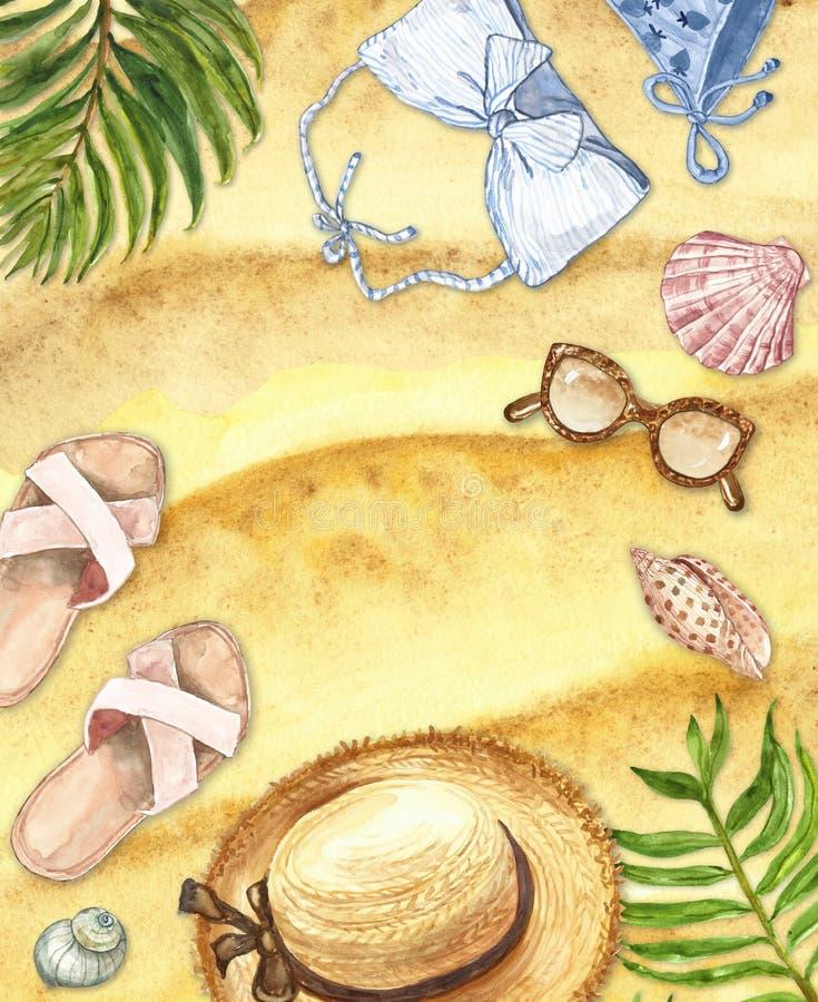 Набор пляжа лета акварели Рука покрасила swimwear, шляпу, раковины, лист ладони, солнечные очки на предпосылке песка Флюиды каник иллюстрация вектора