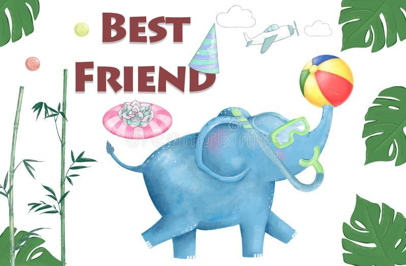 Набор пляжа playfull слона детского душа акварели Милые слоны для поздравительной открытки, дня рождения, приглашают, картина тек иллюстрация вектора