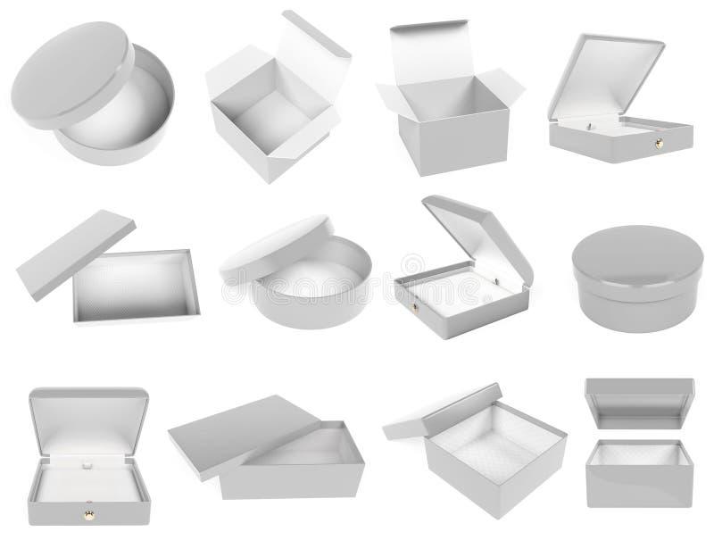 Набор подарочных коробок белого цвета Реалистичная картонная насмешка Закрыто и пусто 3d иллюстрация отрисовки иллюстрация вектора