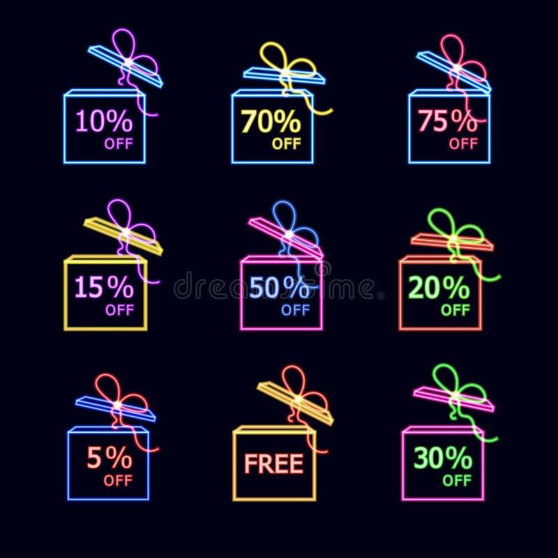 Набор подарочных коробок вектора неоновый, красочные установленные бирки, различные цены, светя на темной иллюстрации бесплатная иллюстрация