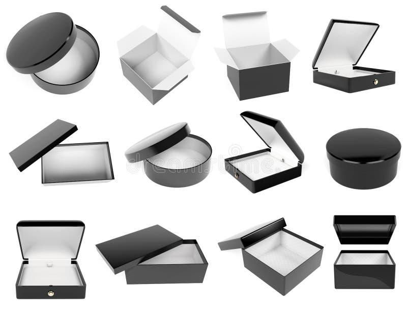 Набор подарочных коробок 'Черный' Реалистичная картонная насмешка Закрыто и пусто 3d иллюстрация отрисовки иллюстрация штока