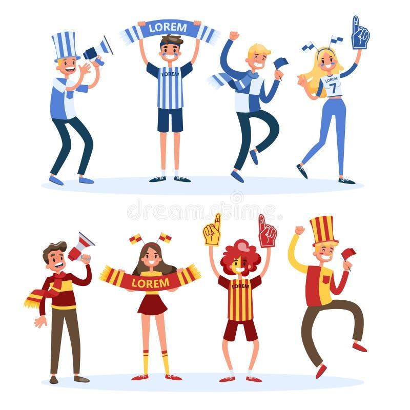 Набор поклонника футбола Люди с поддержкой флага страны иллюстрация штока