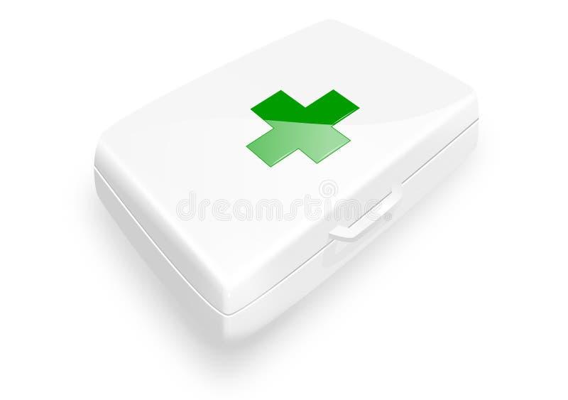 Набор помощи с зеленым крестом стоковые изображения