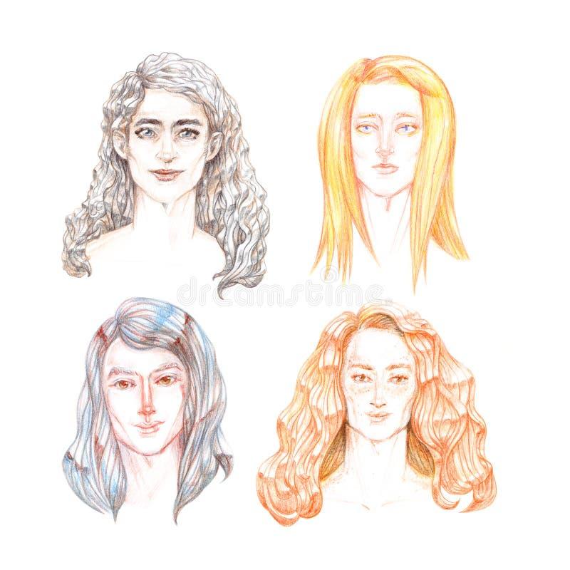 Набор 4 портретов молодых людей с длинными волосами других цветов, нарисованными вручную с покрашенными карандашами, изолированны бесплатная иллюстрация
