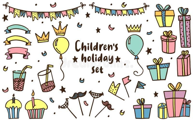 Набор праздника детей в векторе бесплатная иллюстрация