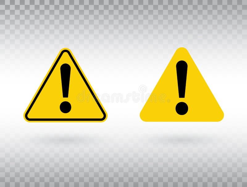 Набор предупреждающего символа Кнопка внимания Черный восклицательный знак в желтом треугольнике изолированном на прозрачной пред иллюстрация штока