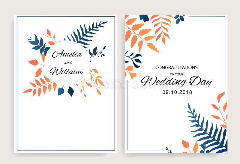 Набор приглашает свадьбу флористический дизайн карт с вектором градиента выходит стиль r иллюстрация штока