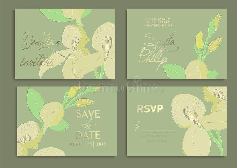 Набор приглашения свадьбы: цветки, орхидеи, листья, акварель, вектор Текстурируйте для создания программы-оболочки, обоев ткани,  иллюстрация вектора
