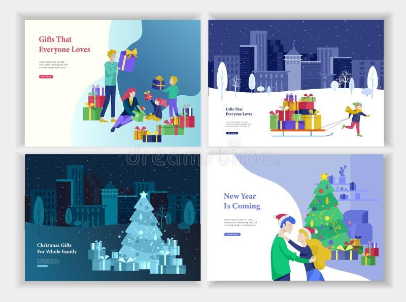 Набор приземляясь поздравительной открытки шаблона или страницы Счастливая семья дает, распаковывает подарок Веселое рождество, С бесплатная иллюстрация