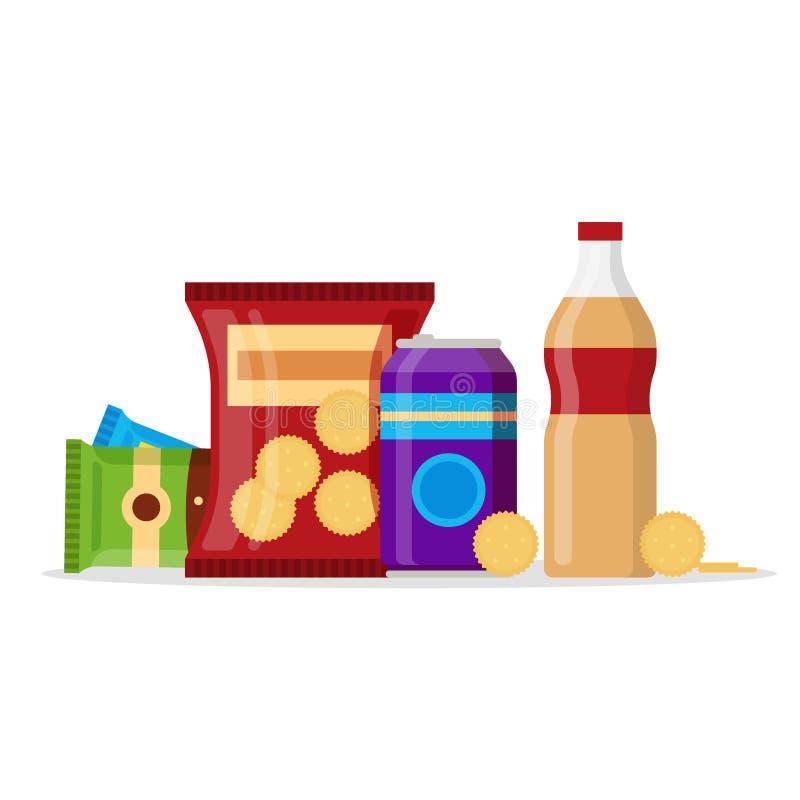 Набор продуктов закуски, закуски фаст-фуда, напитки, гайки, шутиха, сок изолированный на белой предпосылке Плоская иллюстрация вн иллюстрация штока