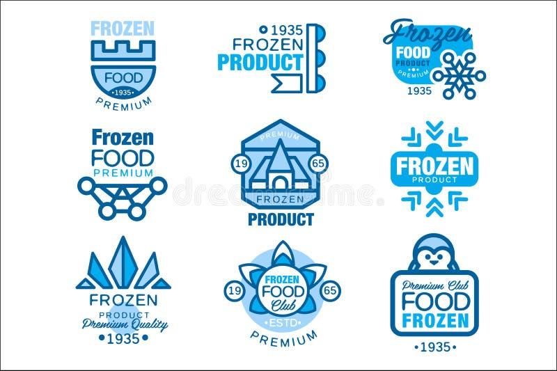 Набор продуктов замороженных продуктов шаблонов логотипа вручает вычерченные иллюстрации вектора в голубых цветах иллюстрация штока