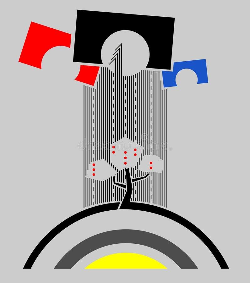 Набор простых форм: дерево над солнцем на поставленной точки дороге до 3 свода других цветов Абстрактное искусство иллюстрация штока