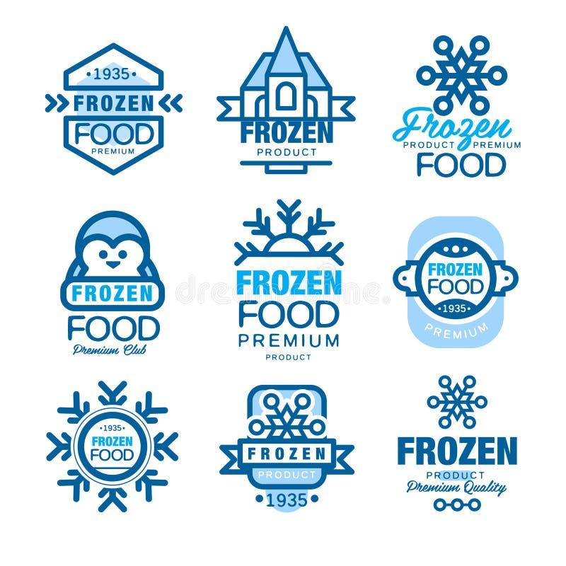 Набор продуктов замороженных продуктов наградной шаблонов логотипа вручает вычерченные иллюстрации вектора иллюстрация вектора