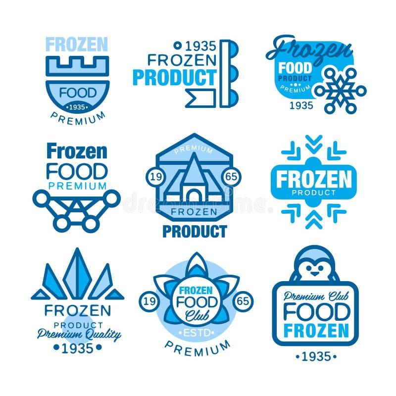 Набор продуктов замороженных продуктов шаблонов логотипа вручает вычерченные иллюстрации вектора в голубых цветах иллюстрация вектора
