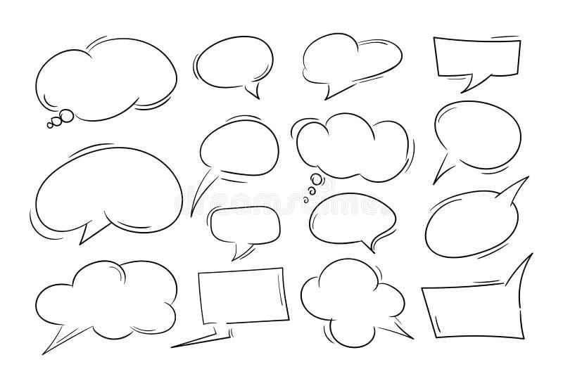 Набор пузыря речи руки вычерченный черно-белый Комиксы вектора конструируют элементы бесплатная иллюстрация
