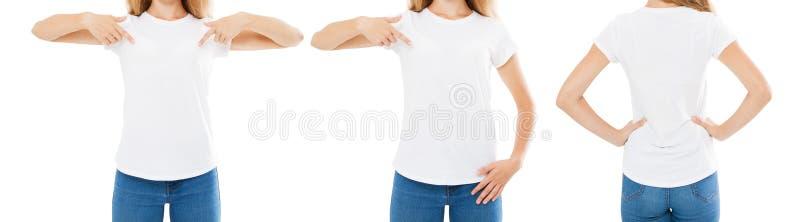 набор, пункты женщины коллажа вручает на белой изолированной футболке, футболке девушки, фронте и задних взглядах, подрезанном из стоковая фотография rf