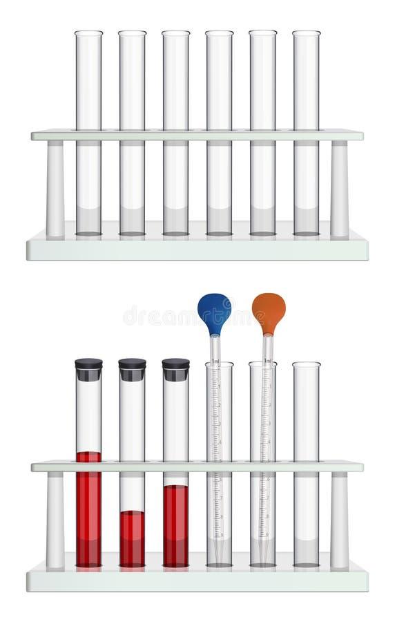 Набор пустых трубок в шкафе и набор измеряя пипеток и пробирок лаборатории с пробами крови, закрытый с a иллюстрация штока