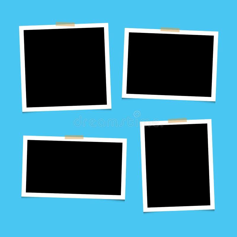 Набор пустых фоторам с клеем на синем фоне Пусто для фотографий Вектор EPS 10 иллюстрация вектора