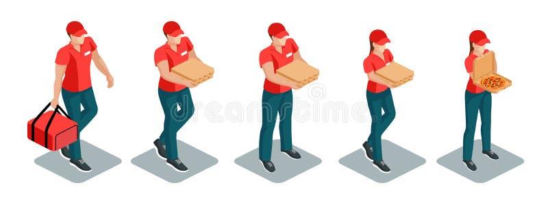 Набор работников доставляющих покупки на дом пиццы равновеликий иллюстрация вектора