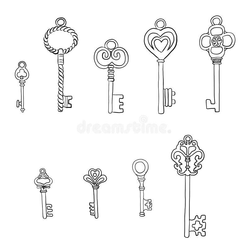 Набор различных винтажных ключей со сложной вковкой, иллюстрацией вектора doodle руки вычерченной изолированной на белой предпосы иллюстрация вектора
