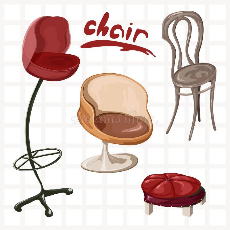 Набор различных стульев в свободном образе чертежа иллюстрация вектора