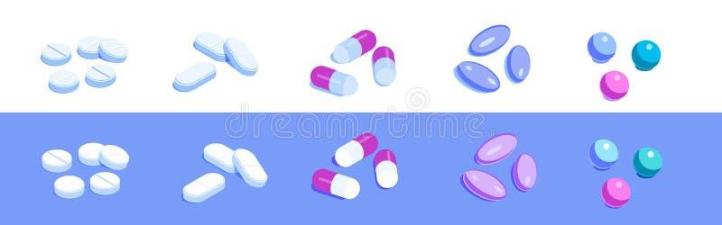 Набор различных таблеток иллюстрация вектора