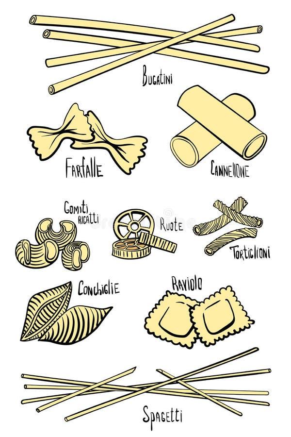 Набор разных видов макаронных изделий в покрашенных линиях рук-чертежа иллюстрация штока