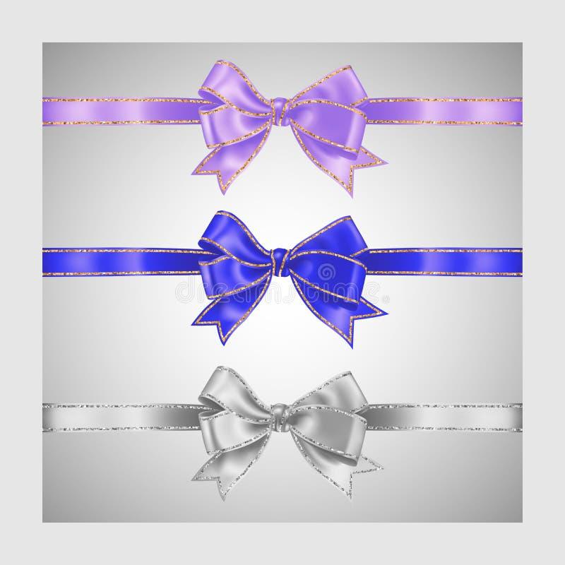 Набор 3 реалистических цветов белых, лаванды сирени и голубого смычка ленты шелка с золотом и нашивками серебряного яркого блеска иллюстрация вектора