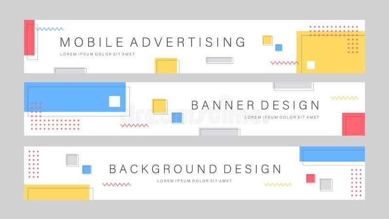Набор редактируемого шаблона баннера продажи Мобильный баннер для рекламы в социальных сетях и в Интернете Шаблон рекламодателя б иллюстрация штока