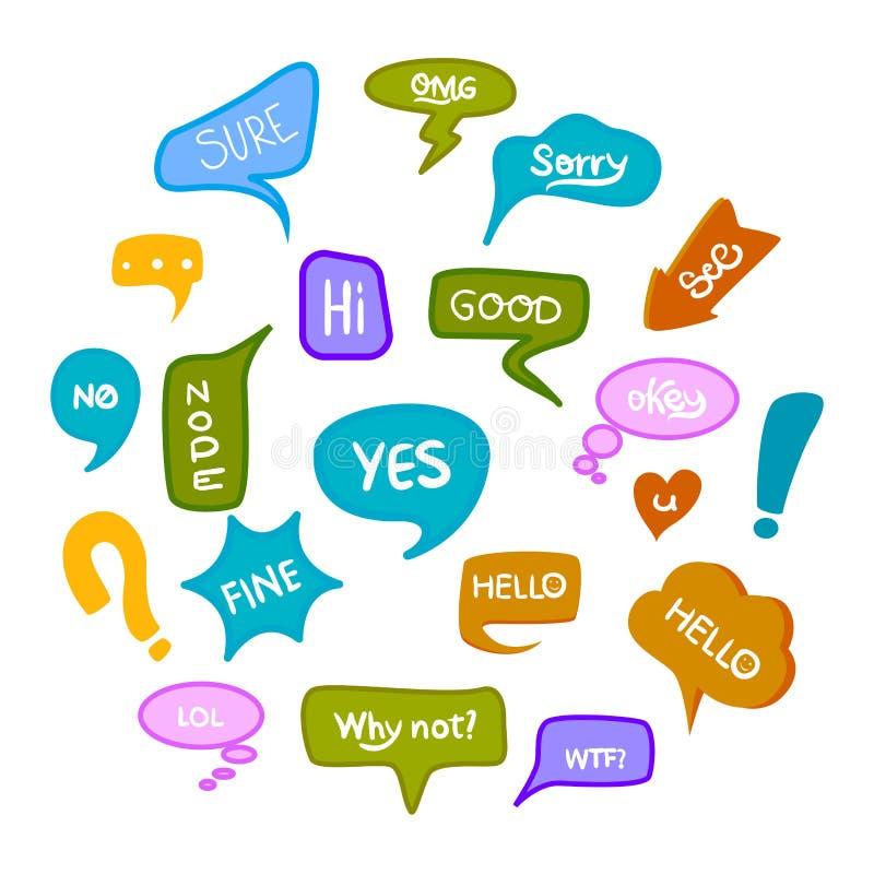 Набор руки потехи вычерченный varicolored пузырей речи с рукописными короткими фразами да, ок, что вверх, omg, хорошее, нет, да,  иллюстрация вектора