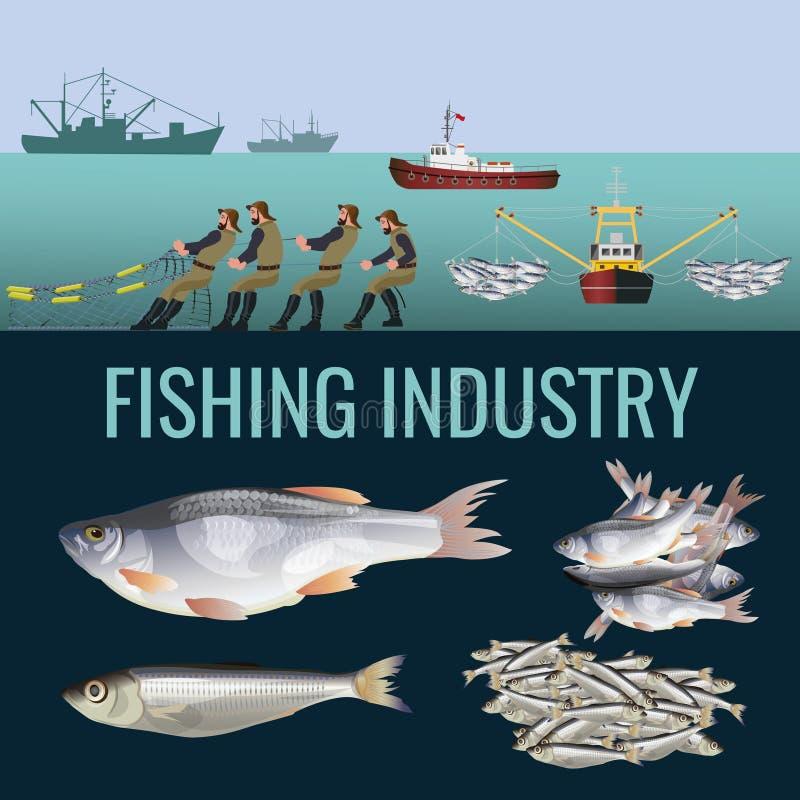 Набор рыбной промышленности стоковые изображения