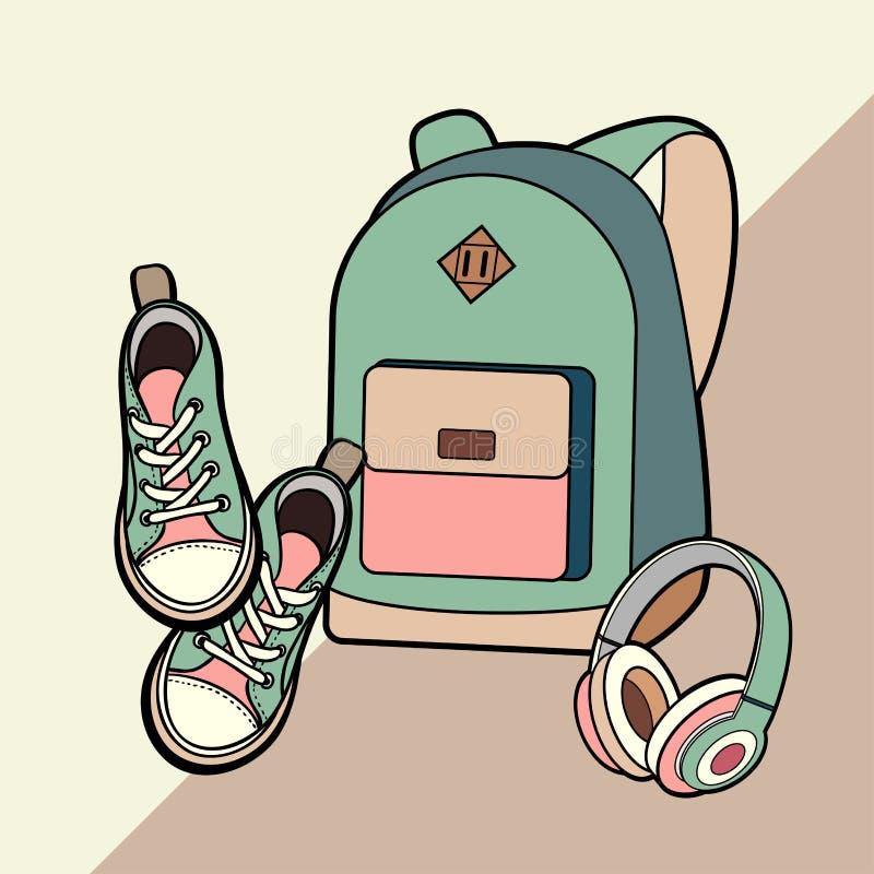Набор рюкзака, тапок и наушников изолированный вектором Рюкзак хипстера моды молодости, иллюстрация ботинок в минималистичном сти иллюстрация вектора