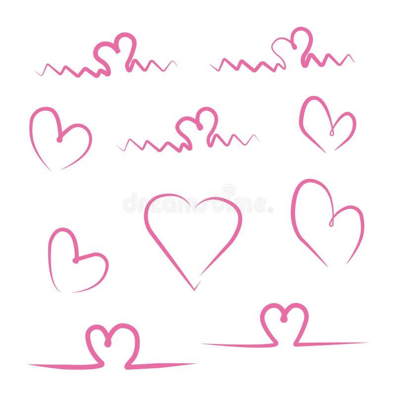 Набор сердец изолированных на белой предпосылке иллюстрация вектора
