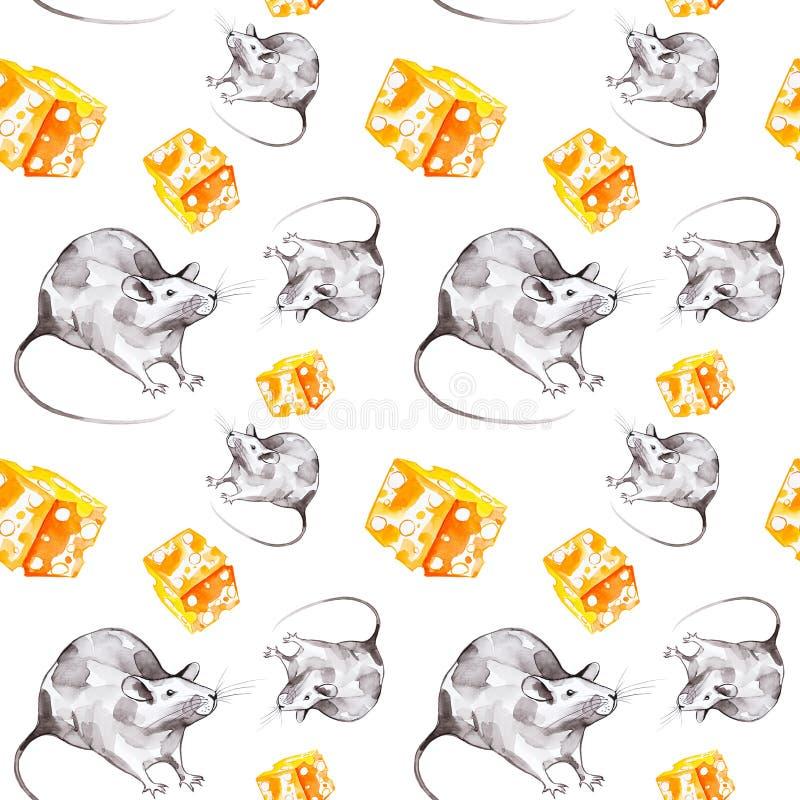 Набор серой крысы и часть желтого сыра Символ 2020 Новых Годов o стоковое фото rf