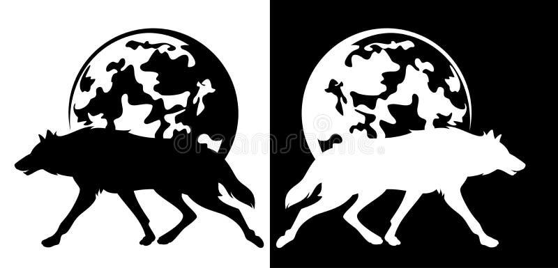 Набор силуэта вектора волка и луны иллюстрация штока