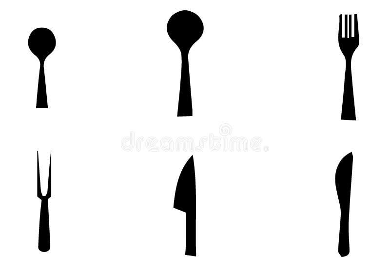 Набор силуэта кухни, картина вектора Значки блюд варить и кухни вектора иллюстрация вектора
