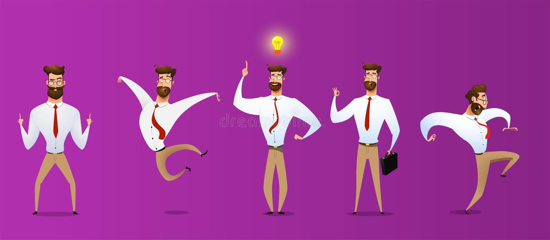 Набор символов бизнесмена шаржа иллюстрация вектора