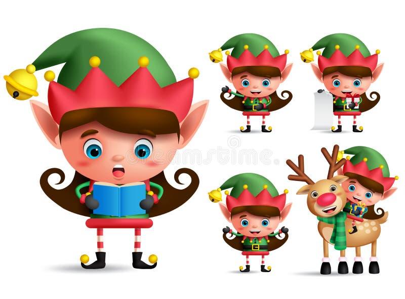 Набор символов вектора эльфа рождества девушки Эльфы маленького ребенка с зеленым костюмом иллюстрация вектора