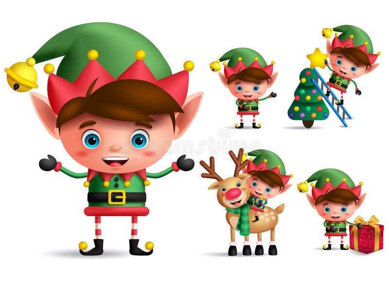 Набор символов вектора эльфа рождества мальчика Эльфы маленького ребенка с зеленым костюмом иллюстрация вектора