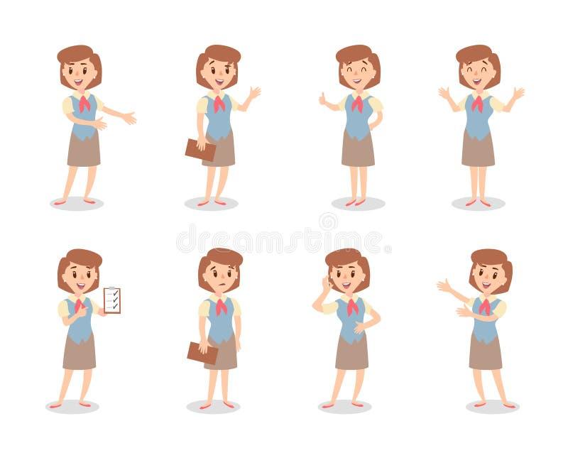 Набор символов коммерсантки Одушевленный характер Женский конструктор персонажа Различные позиции женщины продаж Персонаж вектора иллюстрация штока