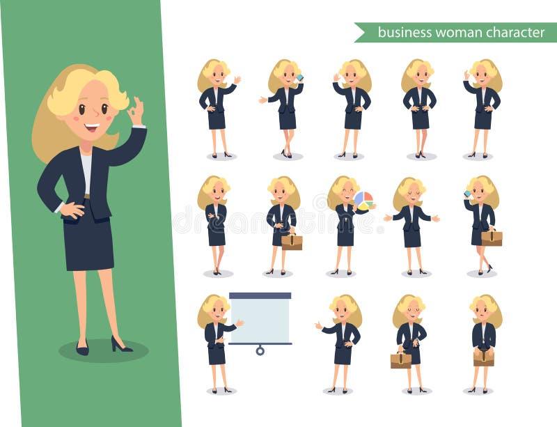 Набор символов коммерсантки Одушевленный характер Конструктор персонажа молодой дамы Различные позиции женщины Персонаж вектора у иллюстрация вектора