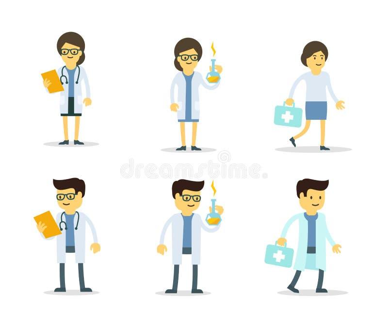 Набор символов людей доктора Наука Лекарство рецепта Медицина и химия Человек и женщина иллюстрация вектора