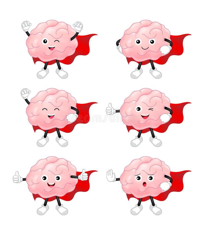 Набор символов мозга героя шаржа бесплатная иллюстрация