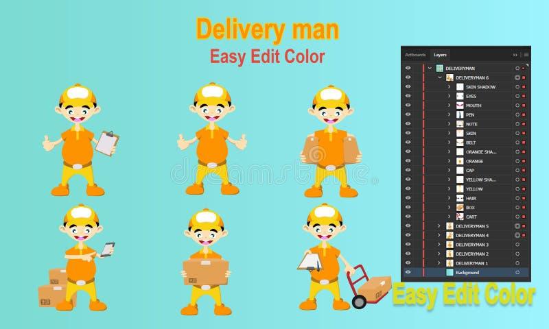 Набор символов работника доставляющего покупки на дом иллюстрация вектора