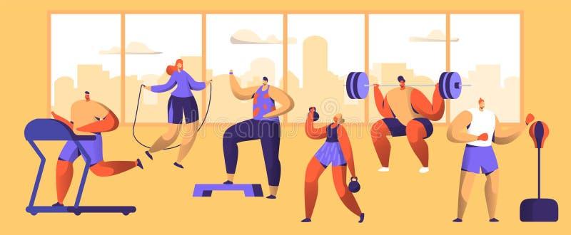 Набор символов разминки спортзала Диаграмма собрание человека и женщины фитнеса спорта Cardio Здоровый аэробный тяжелоатлет, бокс иллюстрация штока