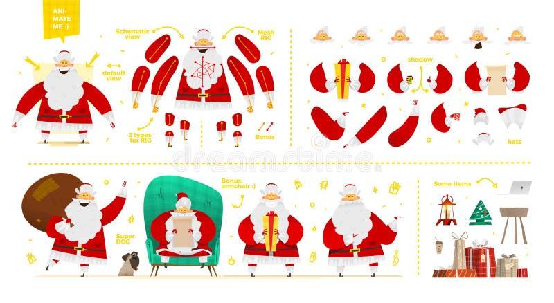 Набор символов Санта Клауса для дизайна анимации и движения иллюстрация вектора