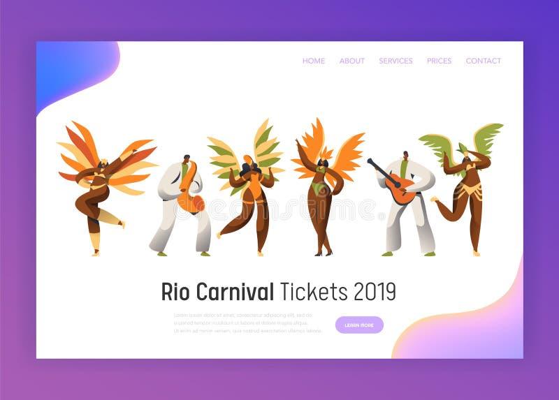 Набор символов танцора масленицы Бразилии Танец женщины в экзотическом костюме пера на празднике Рио-де-Жанейро тропическом счаст иллюстрация штока