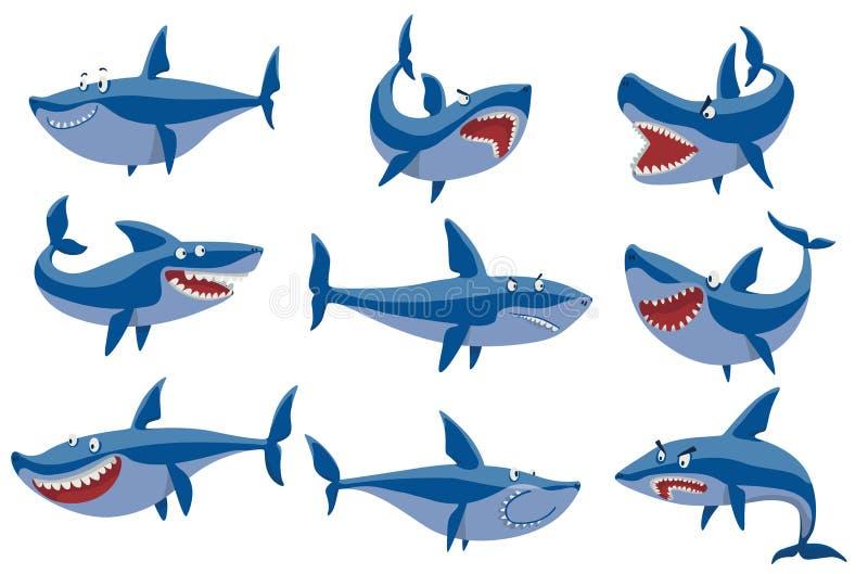 Набор символов акулы вектора иллюстрация штока