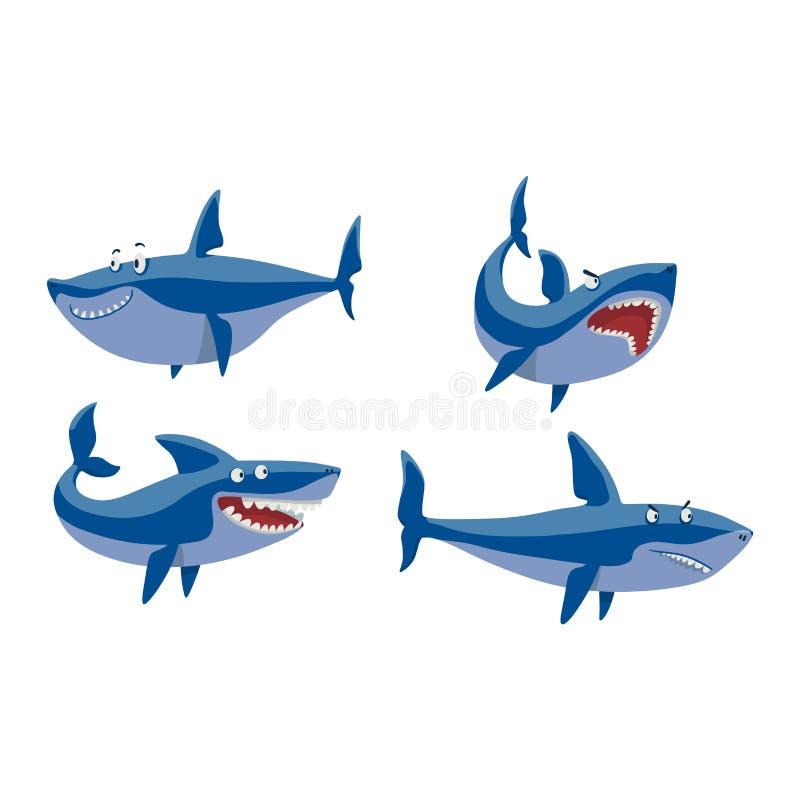 Набор символов акулы вектора бесплатная иллюстрация